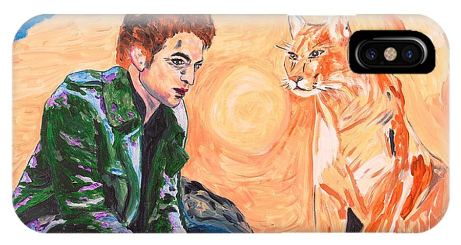 Edward IPhone X Case featuring the painting Edward Cullen And His Diet by Valerie Ornstein