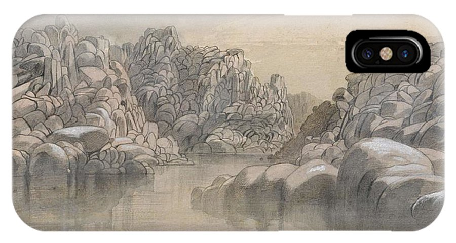 Winter IPhone X Case featuring the painting Edward Lear - River Pass Between Semi Barren Rock Cliffs by Edward Lear
