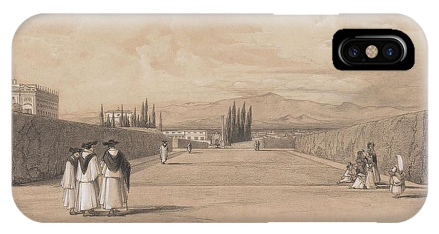 Art IPhone X Case featuring the painting Edward Lear - The Gardens Of The Villa Albani by Edward Lear