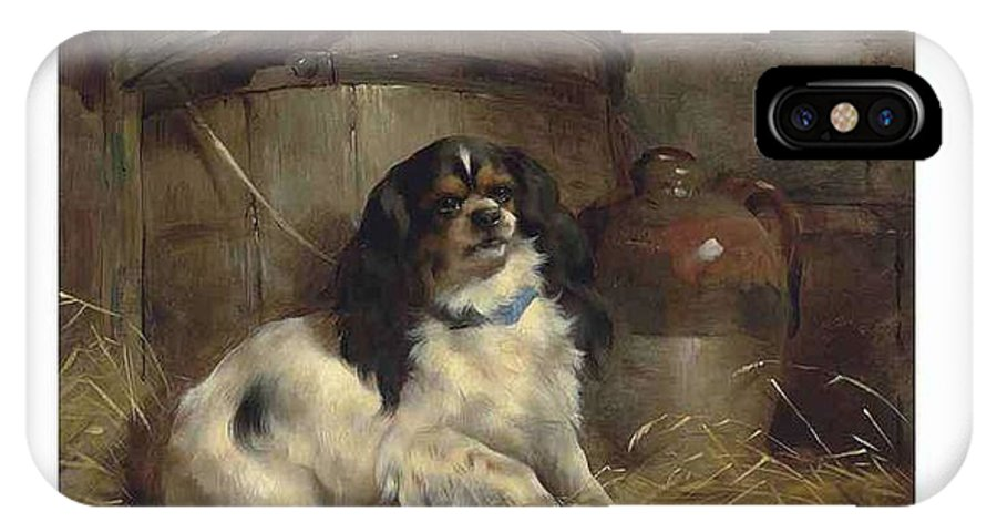 Art IPhone X Case featuring the painting Edwin Douglas 1848-1914 A Cavalier King Charles Spaniel by Edwin Douglas