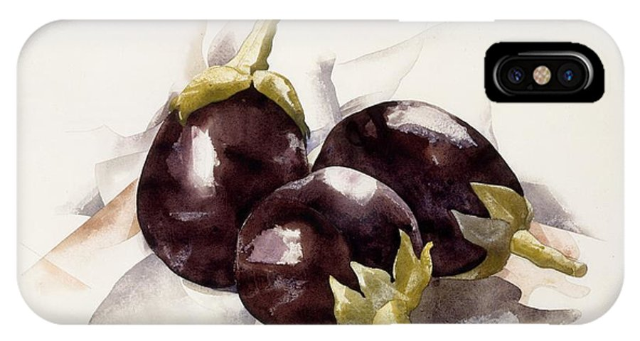 Food IPhone X Case featuring the painting Eggplants. ,charles Demuth by Charles Demuth