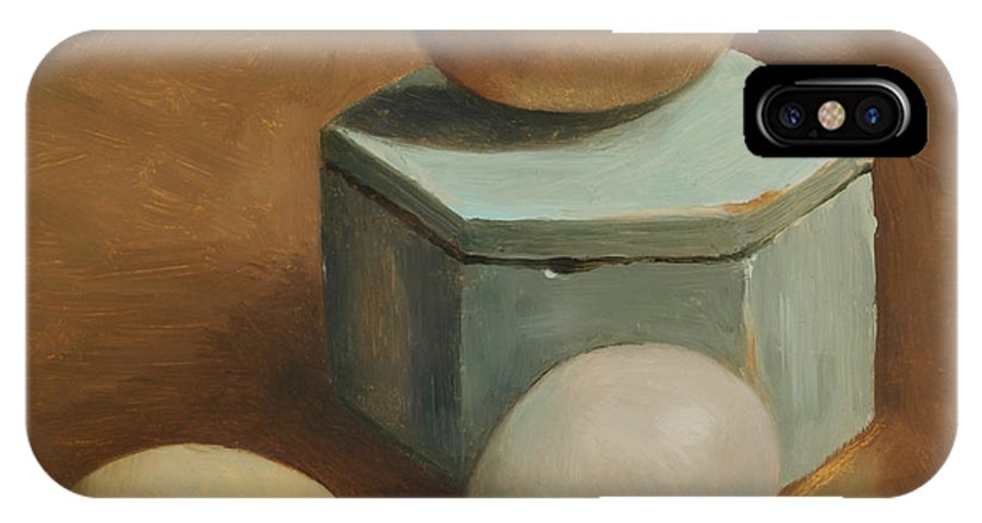 Eggs IPhone X Case featuring the painting Eggs And Rustic Box by Carol Pascale