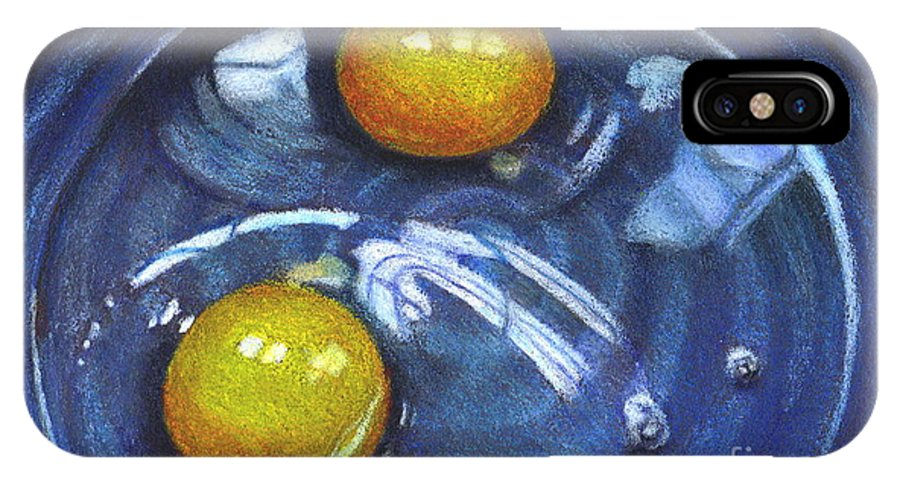 Eggs IPhone Case featuring the drawing Eggs In Blue Bowl by Joyce Geleynse