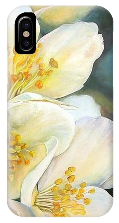 Floral Painting IPhone X Case featuring the painting Eglantine by Muriel Dolemieux