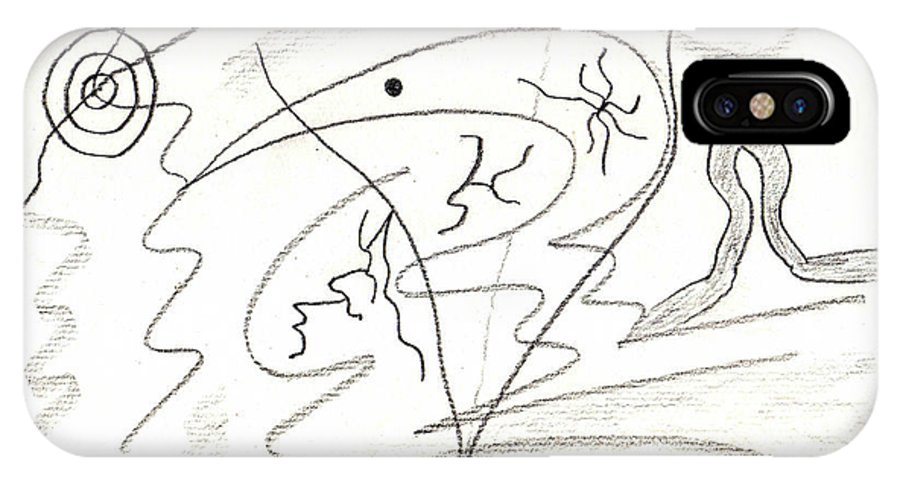 Abstract IPhone X Case featuring the drawing Egozentrik 17106 by AndReaS KoVaR