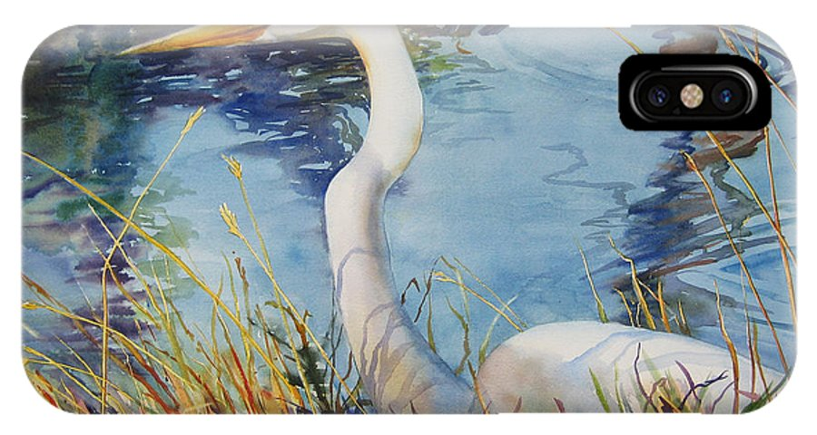 Egret IPhone X Case featuring the painting Egret In Cameron Marsh by Sue Zimmermann