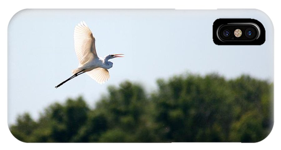 Bird IPhone X Case featuring the photograph Egret In Flight by David Dunham