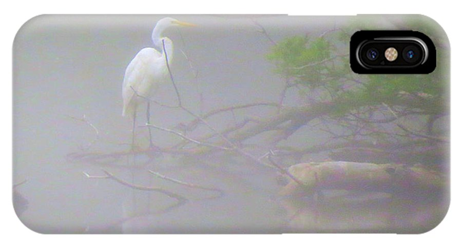 Egret IPhone X Case featuring the photograph Egret In The Mist by George Savic