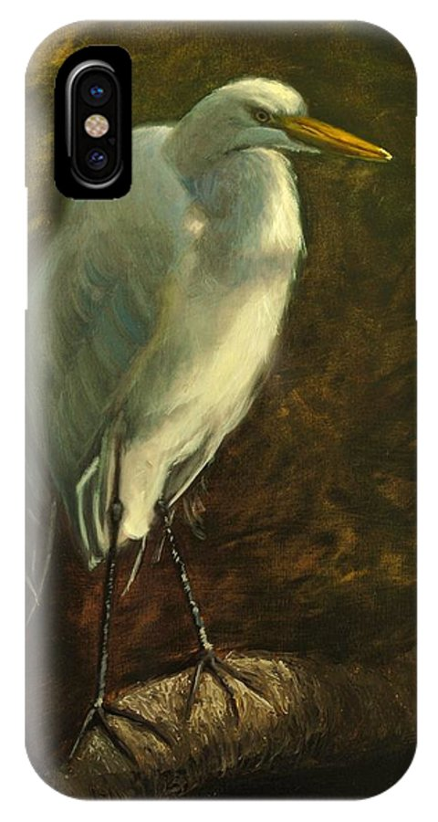 Oil Painting IPhone X Case featuring the painting Egret On Branch by Greg Neal