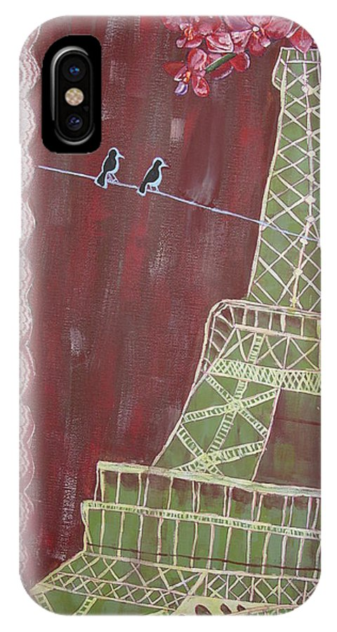 Collage IPhone X Case featuring the painting Eiffel Flowers by Crystal N Puckett