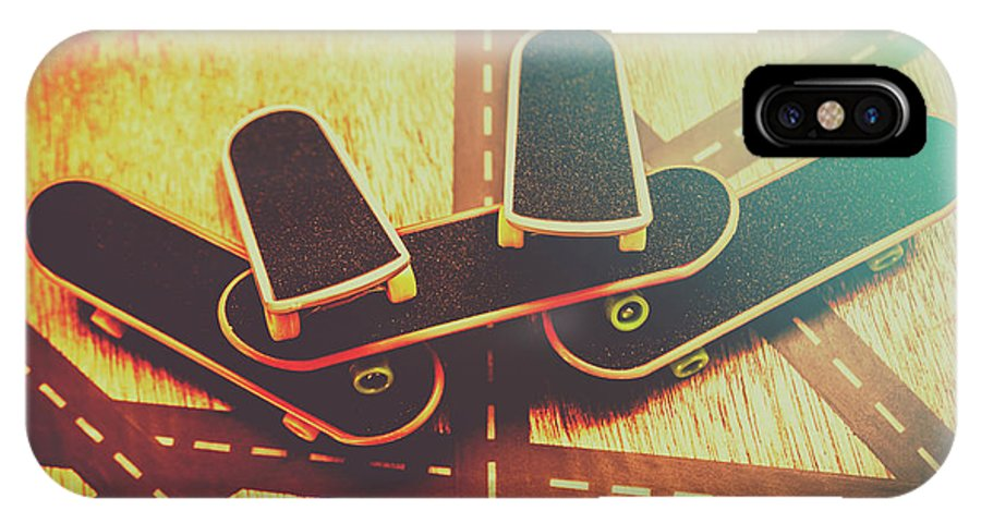 Skate IPhone X Case featuring the photograph Eighties Street Skateboarders by Jorgo Photography - Wall Art Gallery