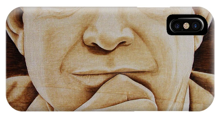 Pyrography; Portrait;; President; Sepia; Human; Eyes; Ears; Eisenhower; Woodburning; Jo Schwartz IPhone X Case featuring the pyrography Eisenhower - The Man by Jo Schwartz