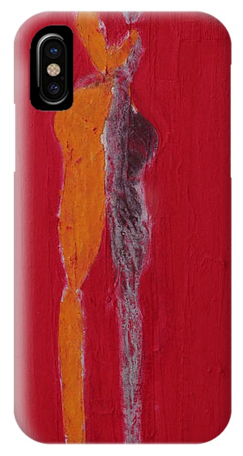 IPhone X Case featuring the painting El Abrazo Serie 44 by Jorge Berlato