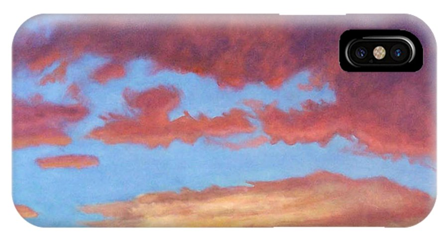 Sunset IPhone X Case featuring the painting El Dorado Sunset by Brian Commerford