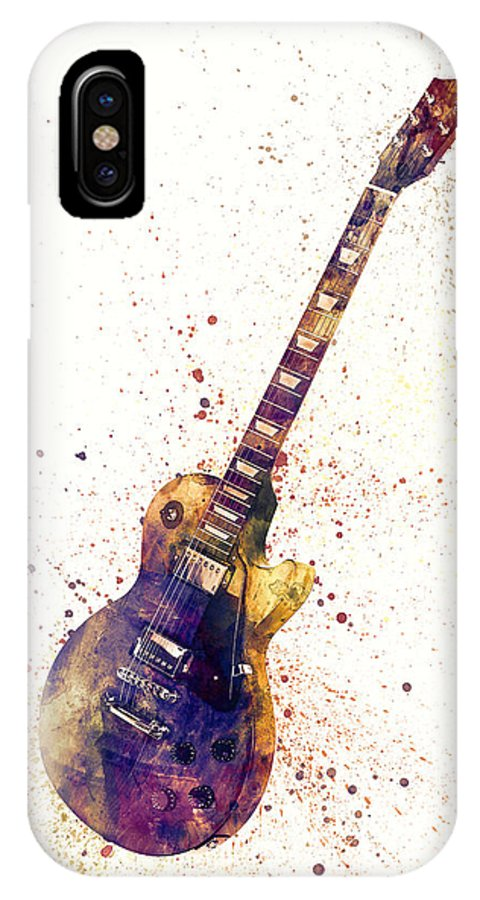 Electric Guitar IPhone X Case featuring the digital art Electric Guitar Abstract Watercolor by Michael Tompsett