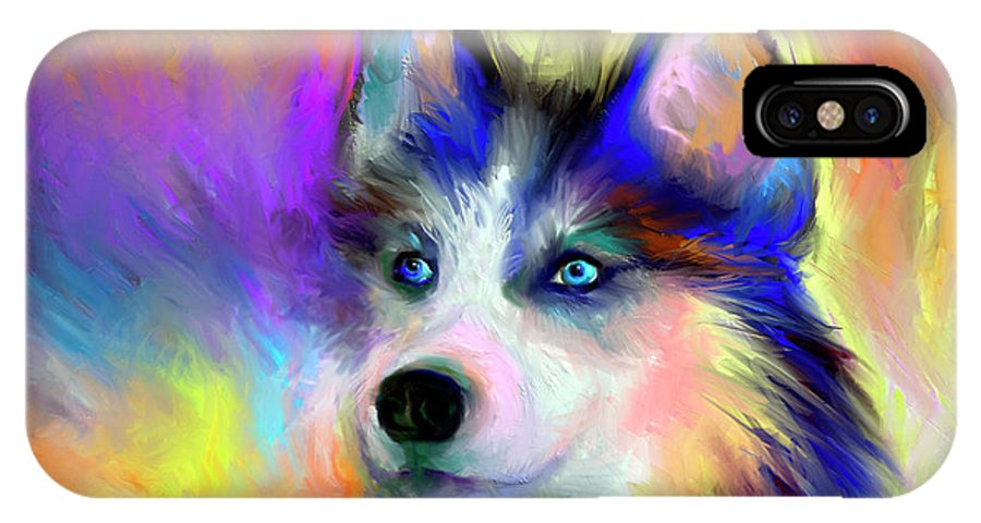 Electric Siberian Husky Dog Painting Iphone X Case