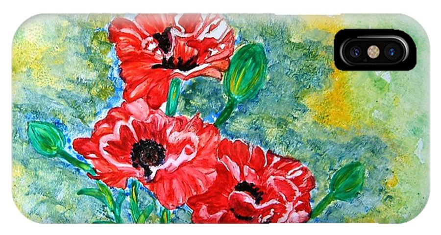 Poppies Flowers Red Yellow Green Blue Acrylic Watercolor Yupo Elegant Landscape IPhone X Case featuring the painting Elegant Poppies by Manjiri Kanvinde