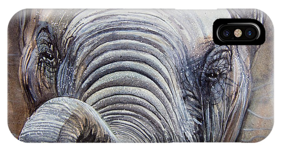 African Elephant IPhone X Case featuring the painting Elephant Closeup by Dave Whited