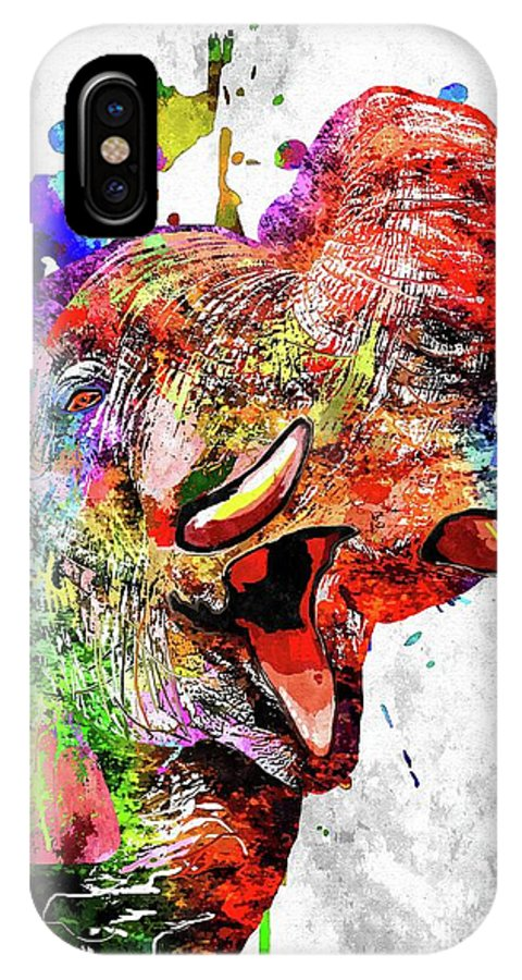 Elephant Colored IPhone X Case featuring the mixed media Elephant Colored Grunge by Daniel Janda