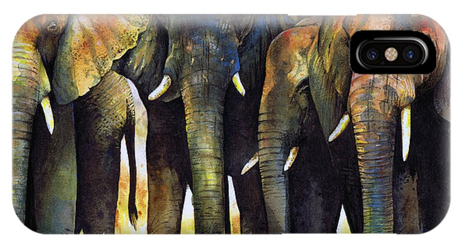 Elephant IPhone Case featuring the painting Elephant Herd by Paul Dene Marlor