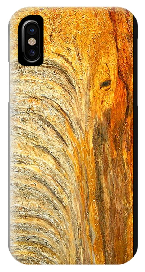 Elephant IPhone X Case featuring the painting Elephant In The Setting Sun by Shirley Wilberforce