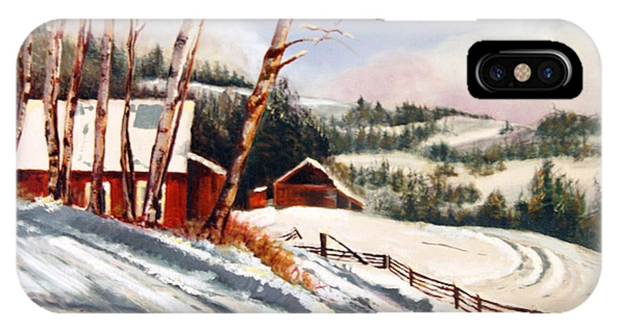 Snow IPhone X / XS Case featuring the painting Elephant Mountain Ranch by Susan Moore