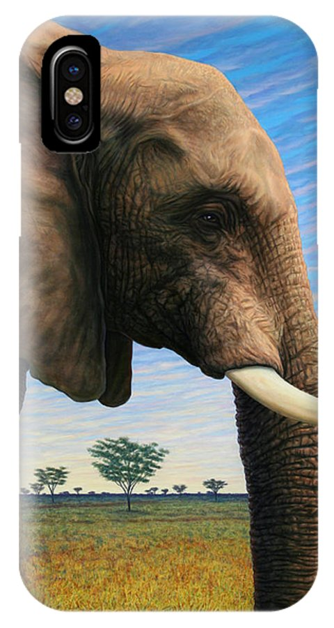 Elephant IPhone X Case featuring the painting Elephant On Safari by James W Johnson