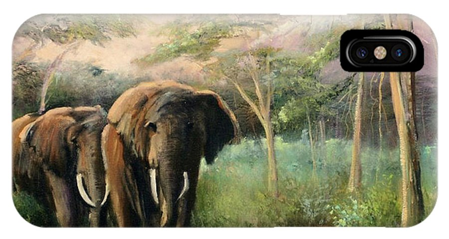Elephants IPhone X Case featuring the painting Elephant Walk by Sally Seago