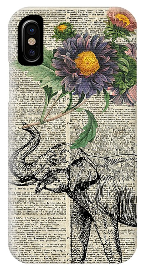 Elephant IPhone X Case featuring the digital art Elephant With Flowers by Anna W