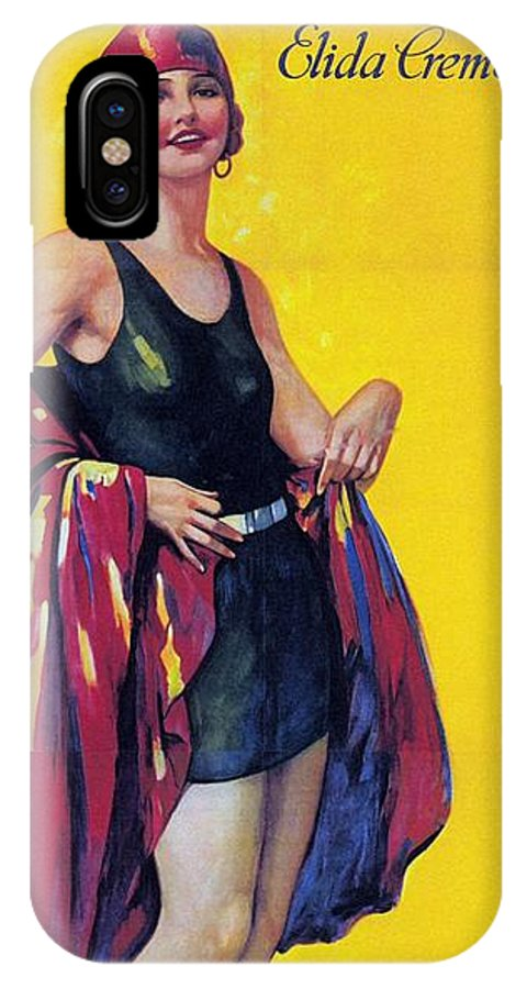 Elida Cremes IPhone X Case featuring the mixed media Elida Cremes In Sonne Und See - Woman In Swimsuit - Vintage Advertising Poster by Studio Grafiikka