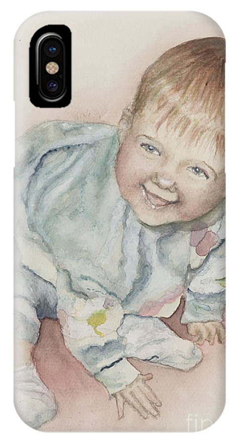 Girl IPhone X Case featuring the painting Elise by Nadine Rippelmeyer