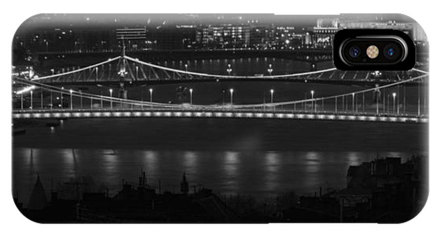 Joan Carroll IPhone X Case featuring the photograph Elizabeth And Liberty Bridges Budapest Bw by Joan Carroll