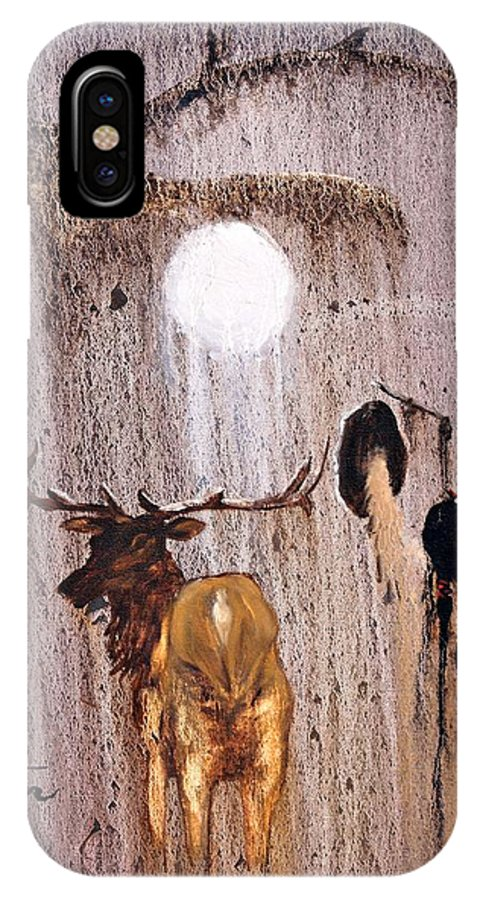 Native Art IPhone X Case featuring the painting Elk Spirit by Patrick Trotter