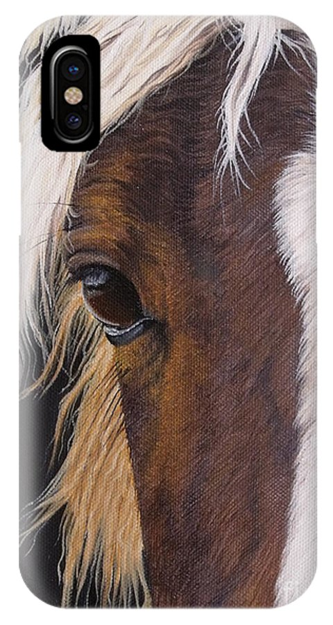 Portrait IPhone X Case featuring the painting Ellroy by Pauline Sharp