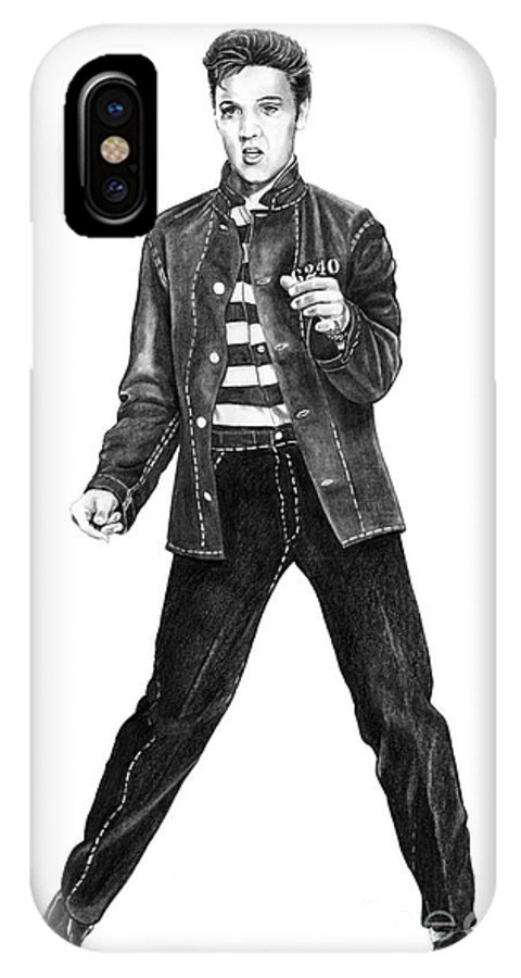 Elvis IPhone X Case featuring the drawing Elvis Presley  by Murphy Elliott