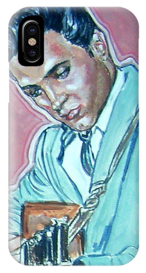 Elvis Presley IPhone X Case featuring the painting Elvis Presley by Bryan Bustard