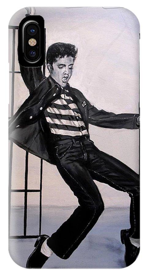 Elvis Presley IPhone X Case featuring the painting Elvis Presley Jailhouse Rock by Eric Dee