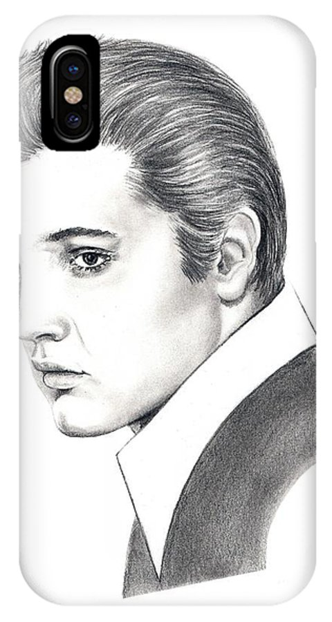 Pencil. Portrait IPhone Case featuring the drawing Elvis Presley by Murphy Elliott