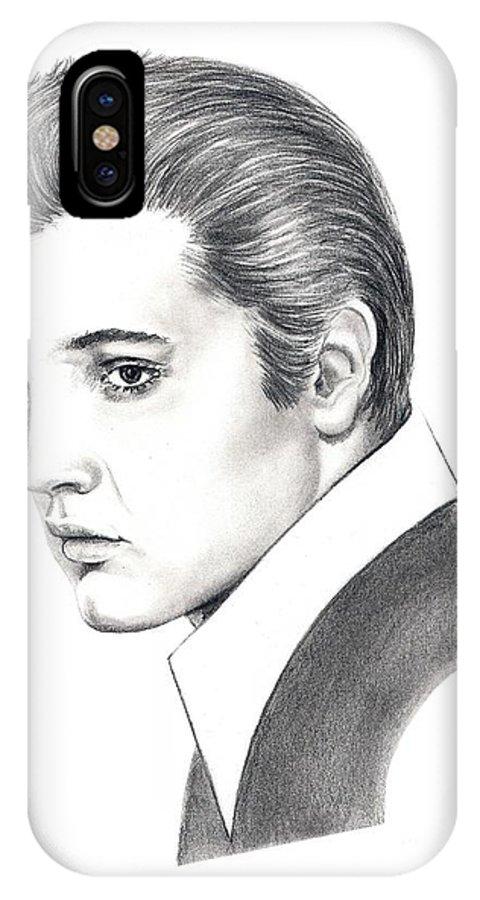 Pencil. Portrait IPhone X Case featuring the drawing Elvis Presley by Murphy Elliott