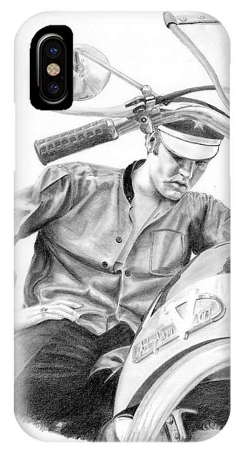 Singer IPhone X Case featuring the drawing Elvis Presley by Rob De Vries