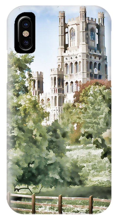 Cathedral IPhone X Case featuring the digital art Ely Cathedral by Ann Garrett