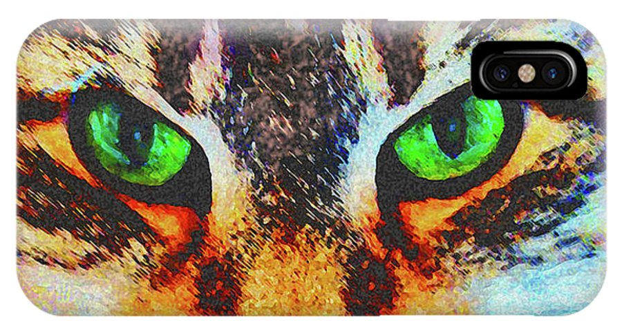 Emerald Gaze IPhone X Case featuring the digital art Emerald Gaze by John Beck