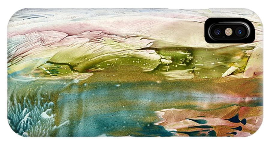 River IPhone X Case featuring the painting Emerald Water by Eileen Fong