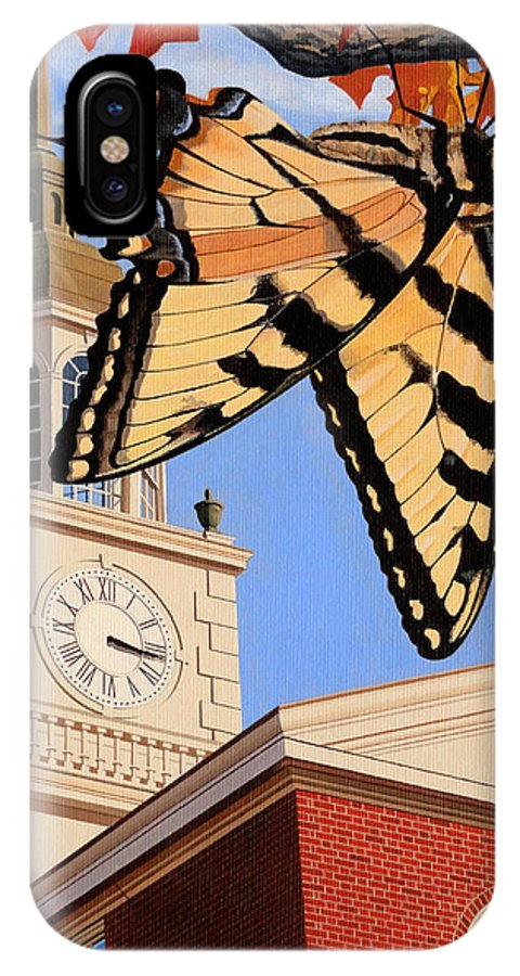 Emergence Of The Butterfly IPhone X Case featuring the painting Emergence Of The Butterfly by Christopher Spicer