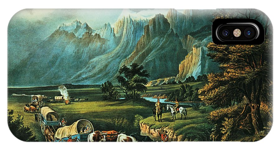 Bal1409 IPhone X Case featuring the painting Emigrants Crossing The Plains by Currier and Ives