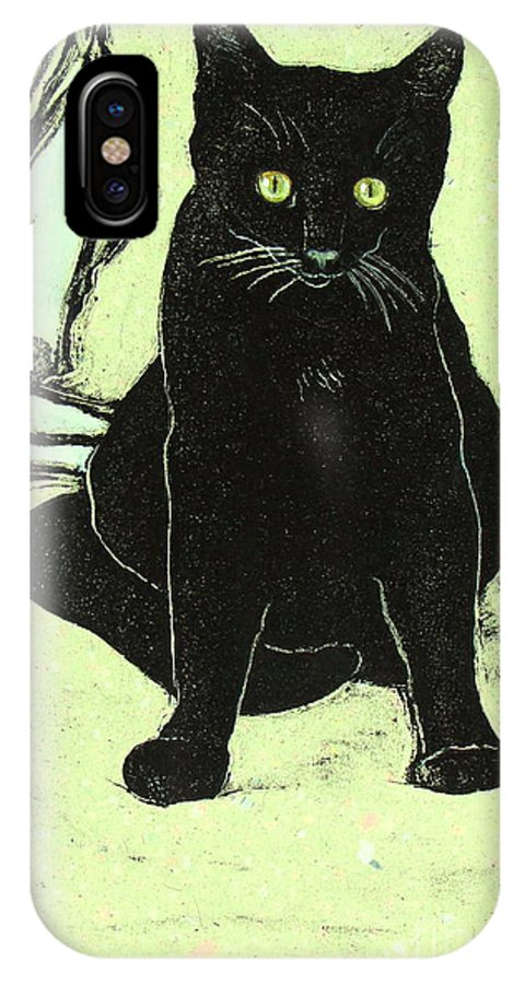 Cat Portrait IPhone X Case featuring the mixed media Emo by Pamela Iris Harden