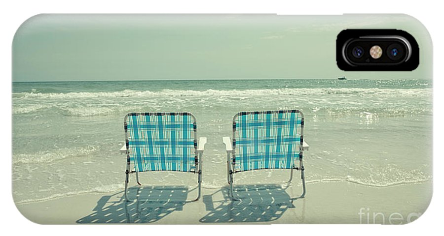 Chair IPhone X Case featuring the photograph Empty Beach Chairs by Edward Fielding