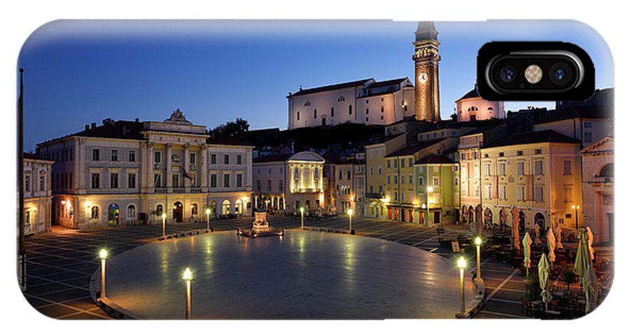 Empty IPhone X Case featuring the photograph Empty Tartini Square In Piran Slovenia With Courthouse, City Hal by Reimar Gaertner