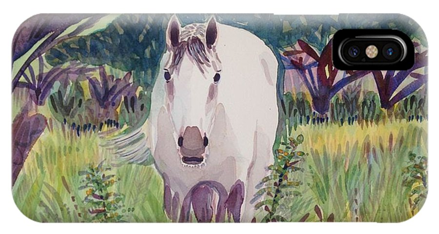 Horse IPhone X Case featuring the painting En El Bosque by Virginia Vovchuk