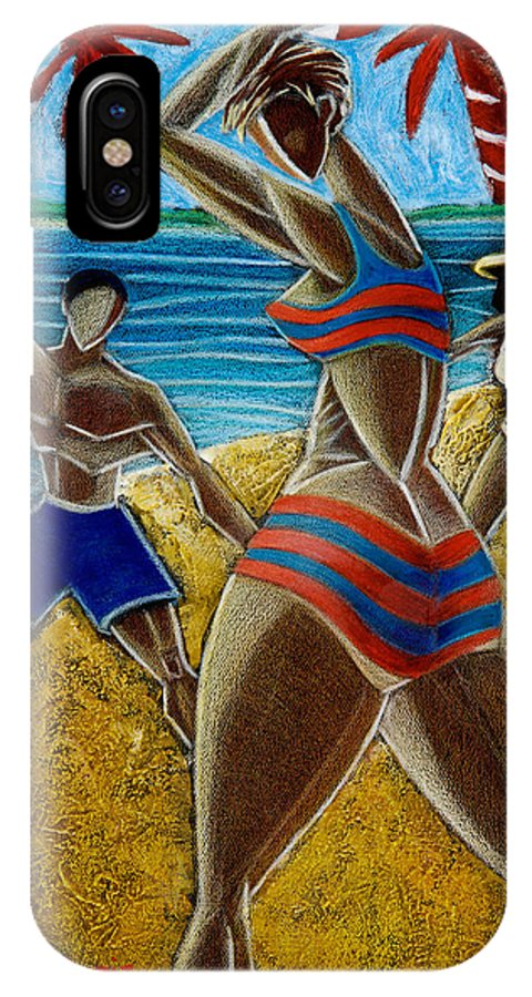 Beach IPhone X Case featuring the painting En Luquillo Se Goza by Oscar Ortiz